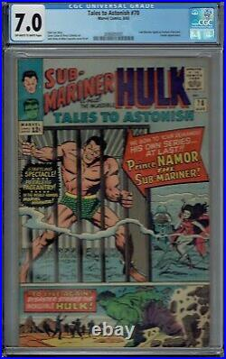 CGC 7.0 TALES TO ASTONISH #70 1ST SOLO APPEARANCE OF THE SUB-MARINER OWithW PAGES