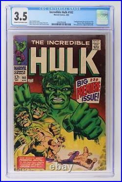 Incredible Hulk #102 Marvel 1968 CGC 3.5 Continued from Tales to Astonish #101