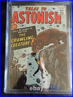 TALES TO ASTONISH #22 CGC FN- 5.5 White pg! Kirby cvr, The Crawling Creature