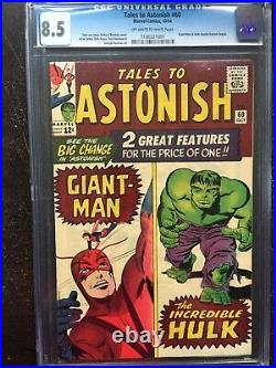 TALES TO ASTONISH #60 CGC VF+ 8.5 OW-W Giant Man/Hulk double features begin