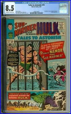 TALES TO ASTONISH #70 CGC 8.5 OWithWH PAGES // SUB-MARINER BECOMES FEATURE 1965