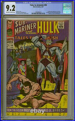 TALES TO ASTONISH #90 CGC 9.2 OWithW 1st (SA) App Byrrah 1st App Abomination