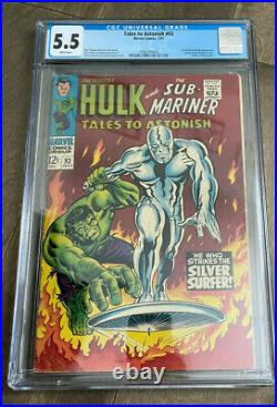 Tales To Astonish #93 CGC 5.5 WHITE pages. First Silver Surfer outside F. F. Hot