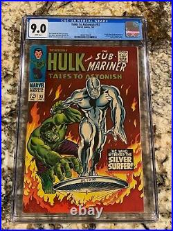 Tales To Astonish #93 Cgc 9.0 Rare White Pages Hi End Mcu Hulk Vs Silver Surfer
