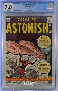 Tales to Astonish #36 CGC 7.0 White Pages 3rd Appearance Ant-man 1962
