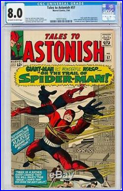 Tales to Astonish #57 CGC 8.0 SPIDER-MAN CROSSOVER! WORLDWIDE SHIPPING