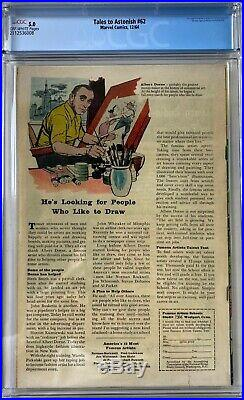 Tales to Astonish #62 CGC 5.0 1st app. Of the Leader! KEY ISSUE! L@@K