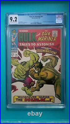 Tales to Astonish 91 CGC 9.2 VF/NM 1967 1st Abomination Cover