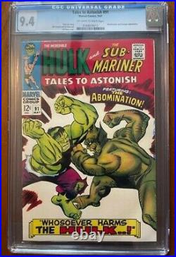 Tales to Astonish 91 CGC 9.4 2nd Abomination/1st cover Shang-Chi/She-Hulk