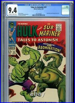 Tales to Astonish #91 CGC 9.4 OWTW Pages vs the Abomination