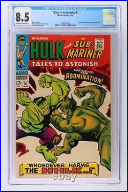 Tales to Astonish #91 Marvel 1967 CGC 8.5 Abomination and Stranger Appearance