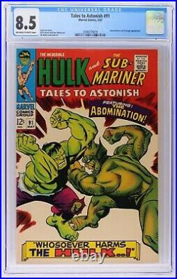 Tales to Astonish 91 (Marvel 1967) CGC 8.5 oww 2nd Abomination / 1st cover