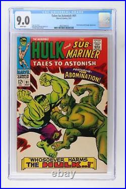 Tales to Astonish #91 Marvel 1967 CGC 9.0 Abomination and Stranger Appearance