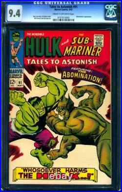 Tales to Astonish 91 (Marvel 1967) CGC 9.4 NM 2nd Abomination / 1st cover app
