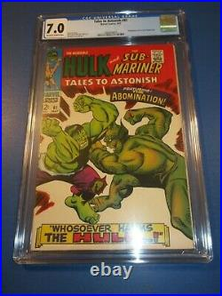 Tales to Astonish #91 Silver age Hulk 1st Abomination Cover Key CGC 7.0 FVF wow