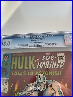 Tales to Astonish #93 CGC 8.0 (Marvel 1967) 1ST SILVER SURFER OUTSIDE FF