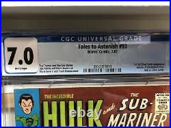 Tales to Astonish #93 (Marvel 1967) CGC 7.0 WP 1st Silver Surfer outside FF